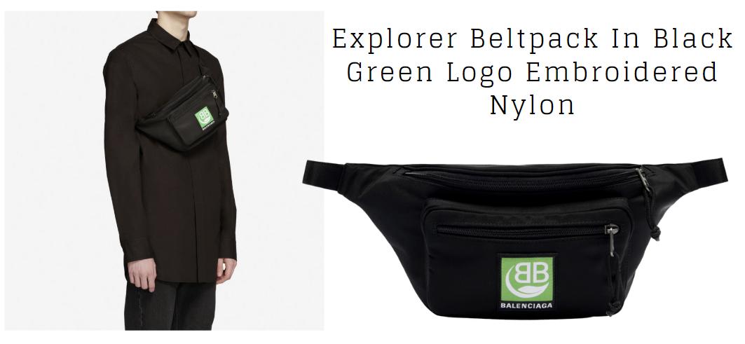 Balenciaga กระเป๋าคาดอก ITEM ชิ้นใหม่ของสายแฟฯ Black Green Logo Embroidered Nylon