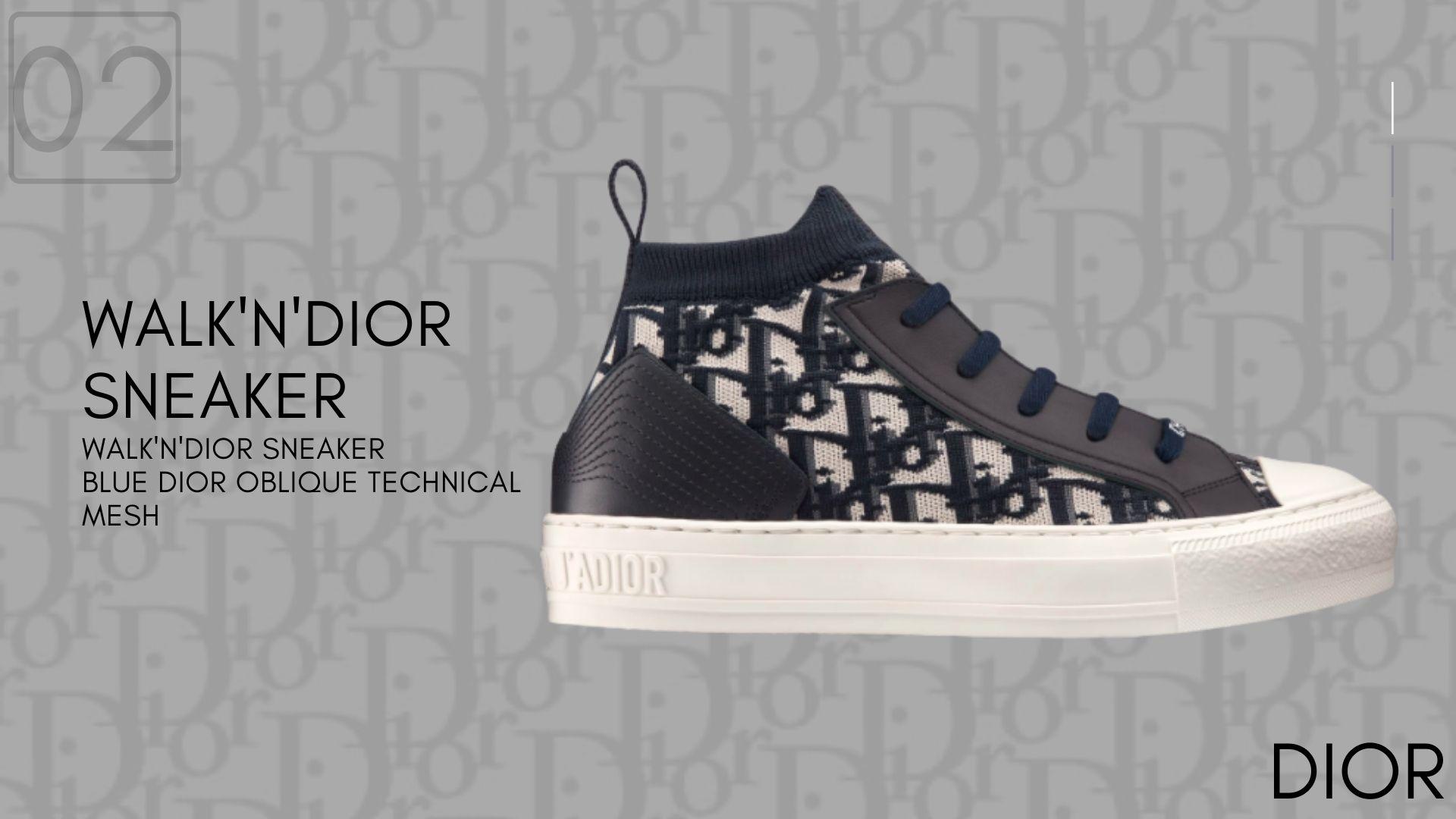 WALK'N'DIOR Blue Dior Oblique Technical Mesh-Dior Sneakers-รองเท้าดิออร์