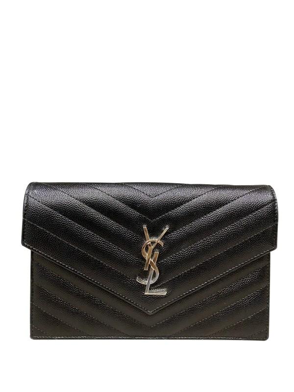 """YSL Black Monogramme Chain Wallet Bag 7.5"""""""