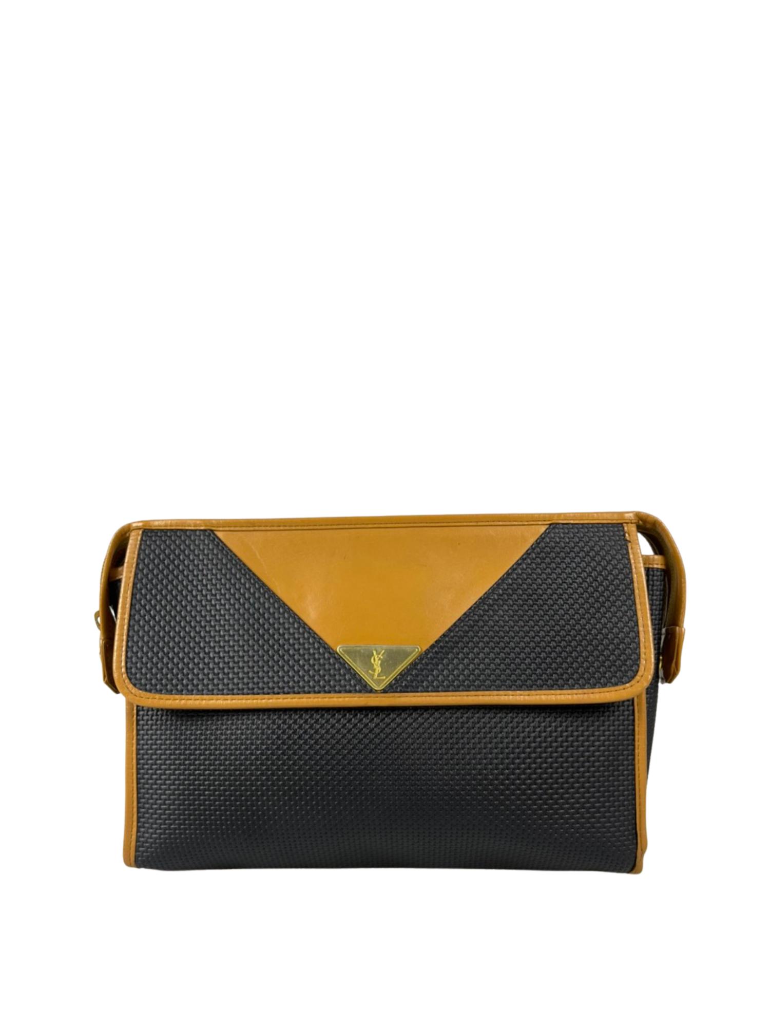 YSL (Yves Saint Laurent ) Black Woven Flap Clutch Bag