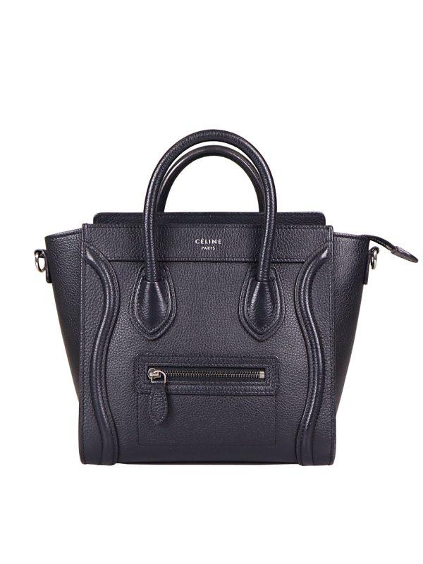 Celine Black Leather Nano Luggage Tote Bag