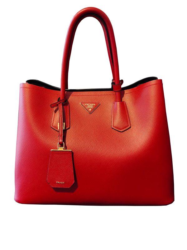 Prada Saffiano Leather Tote Bag in Red 2014