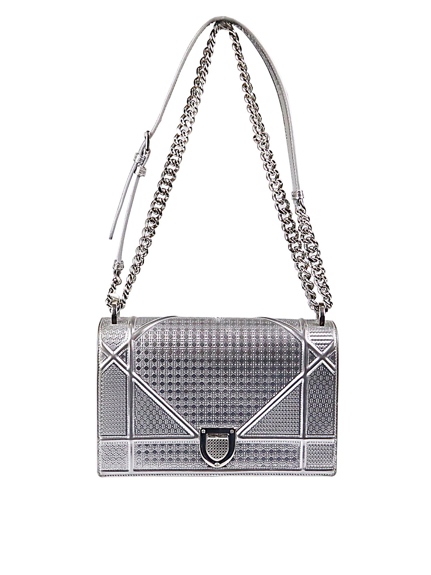 Dior Diorama Medium Silver Metalic Bag